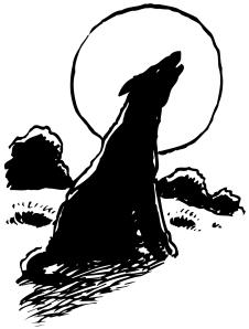 wolf howling at moon iClip