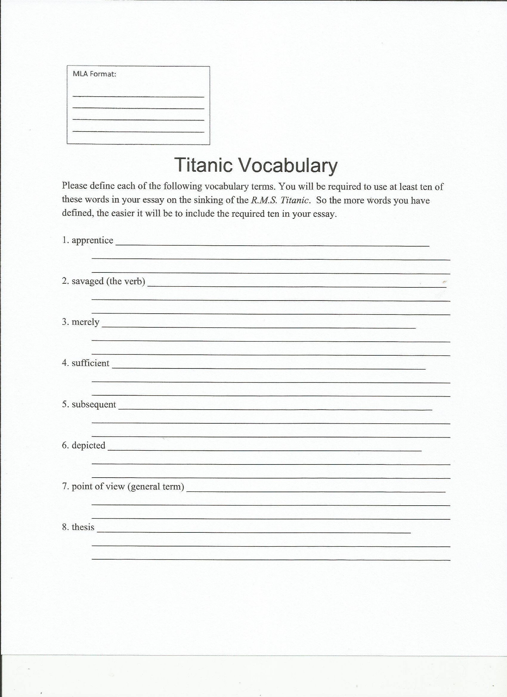 assignments clipboards titanic vocabulary page 1