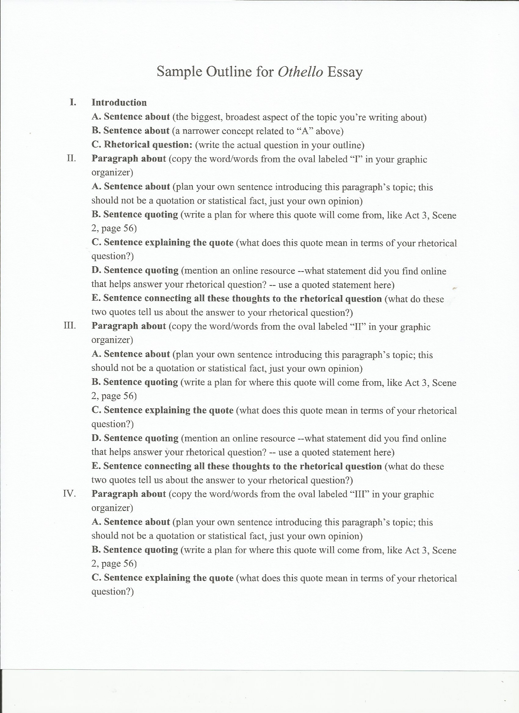 clipboards blog posts offer information on how students can make othello sample outline pg1