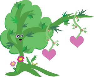 Example of a tree being personified: its branch is an arm; it feels love like a human.
